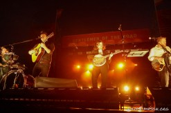 AUCKLAND, NEW ZEALAND - JANUARY 12: Ben Lovett, Marcus Mumford, Winston Marshall and Ted Dwane of Mumford & Sons perform on stage as part of The Gentlemen of the Road tour at The Outer Fields at Western Springs on January 12, 2019 in Auckland, New Zealand. (Photo by Dave Simpson/WireImage)