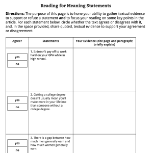 Here's what the Reading for Meaning page looked like on a recent article of the week.