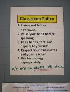 Figure 1: Classroom Policy. Rules aren't the only thing to strive for robotic consistency with, but they are certainly one thing! Street cred goes to Michael Linsin for this poster.