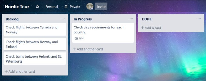 A Trello board showing three tasks under backlong, and one task under in progress.