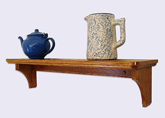 of a Decorative Wall Mounted Shelf, Country Style, Oak Wood, 24 inches