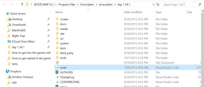emscripten-a-out-directory