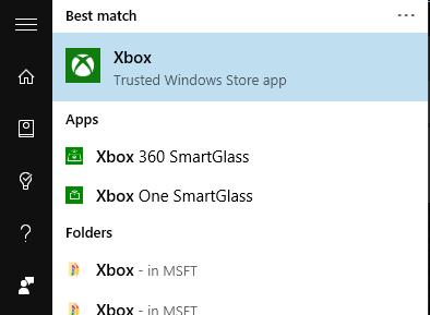 Xbox-app-start-menu