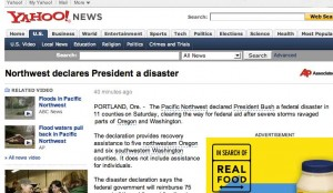 Pacific Northwest declares President Bush a disaster