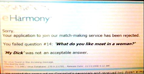 eHarmony Rejection