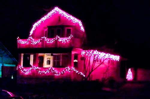 My neighbor's pink house
