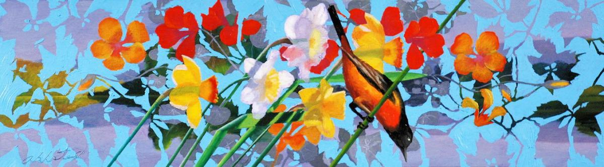 """David Ahlsted - """"April"""", Oil on Board, 10 x 36"""""""