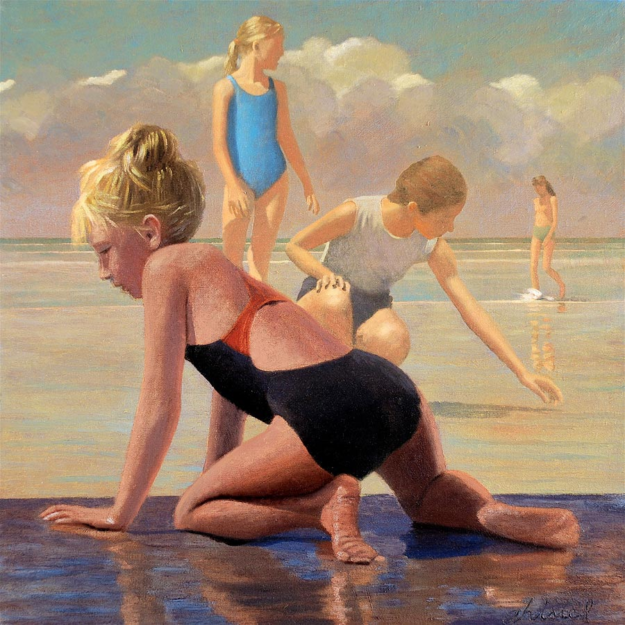 """David Ahlsted - """"August Beach day"""", Oil on Canvas, 48 x 48"""" - SOLD"""