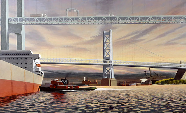 """David Ahlsted - """"Delaware River at Camden, N.J."""" Oil on Canvas, 4 x 7 feet"""