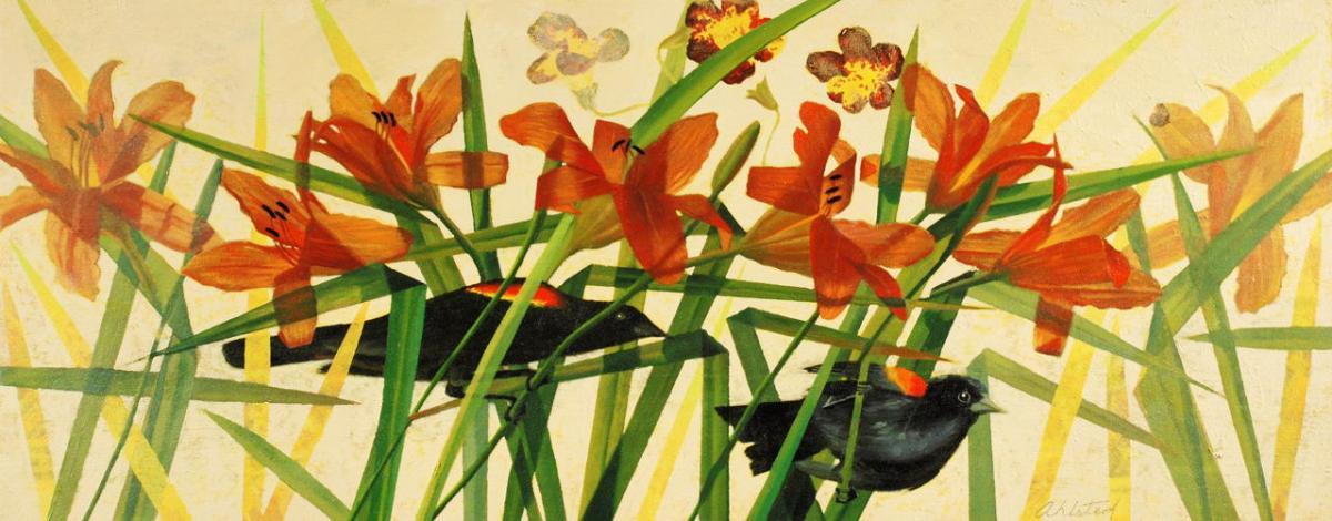 "David Ahlsted - ""Dawn, Monegan Island"", Oil on Canvas, 20 x 50"""