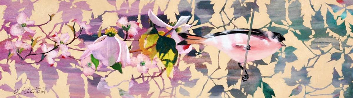 """David Ahlsted - """"Dogwood"""", Oil on Canvas, 10 x 36"""""""