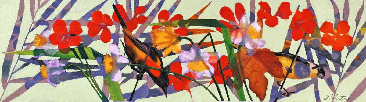 """David Ahlsted - """"Early Spring"""", Oil on Board, 10 x 36"""""""