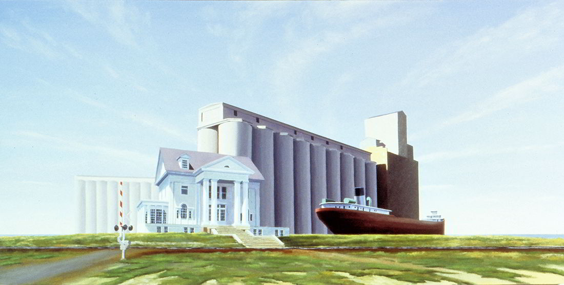 "David Ahlsted - ""Great Lakes Freighter"", Oil on Linen, 36 x 72"""