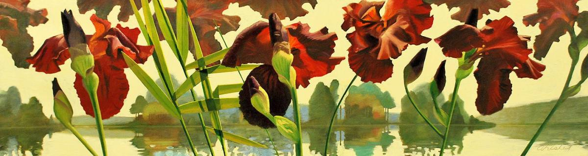 """David Ahlsted - """"May First"""", Oil on Canvas, 20 x 72"""""""
