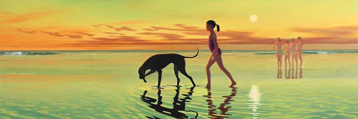 """David Ahlsted - """"Moon Twilight"""", Oil on Canvas, 20 x 58"""""""