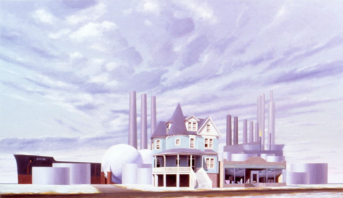 "David Ahlsted - ""Refinery on the Delaware"", Oil on Canvas, 48 x 82"""