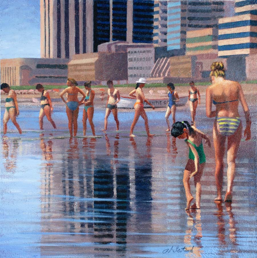 """David Ahlsted - """"Reflections, Atlantic City"""", Oil on Gessoed paper, 23 x 23"""""""