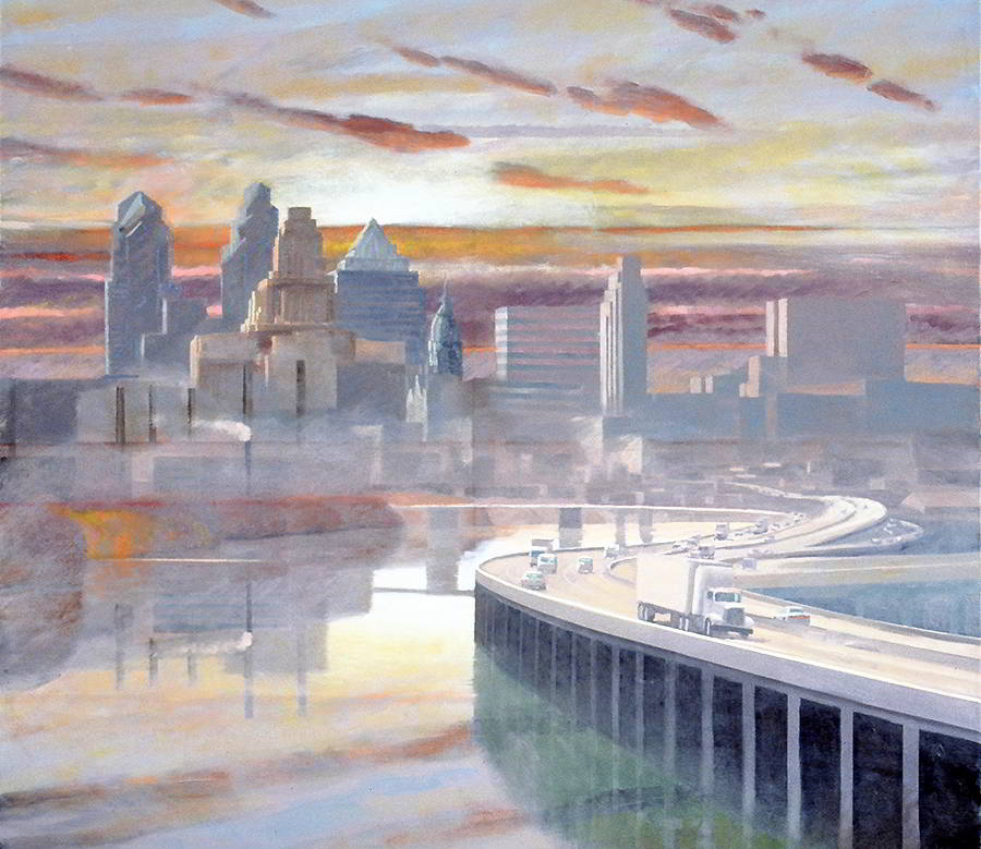 "David Ahlsted - ""Schuylkill River, Philadelphia"", Oil on Canvas, 48 x 48"""