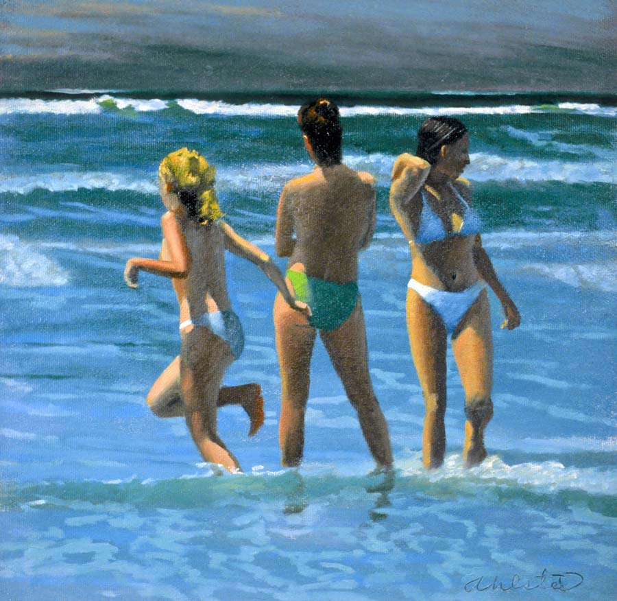 """David Ahlsted - """"Storm Surf"""", Oil on Gessoed Paper, 23 x 23"""" - SOLD"""