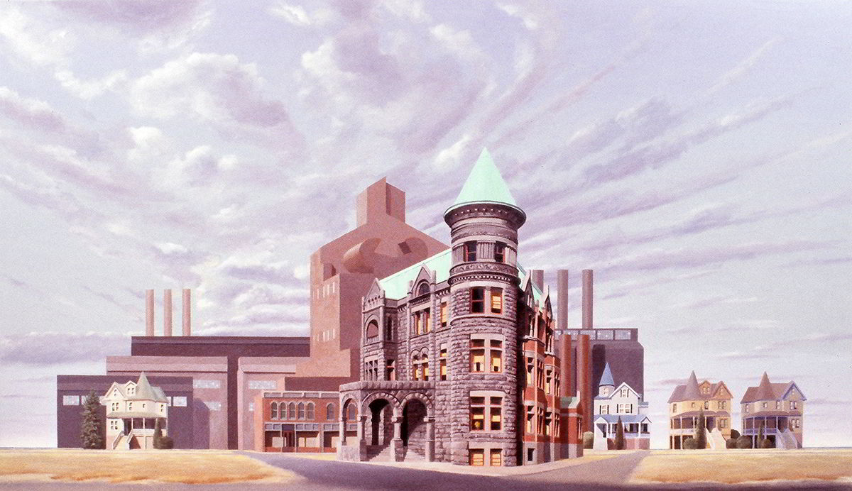 "David Ahlsted - ""The Factory"", Oil on Canvas. 49 x 83.5"""