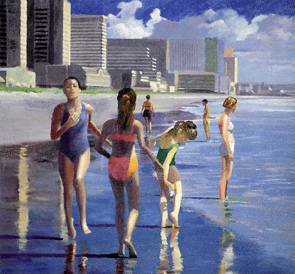 """David Ahlsted - """"Beach Scene, Atlantic City"""" Oil on Gessoed Paper, 23 x 23"""" - SOLD"""