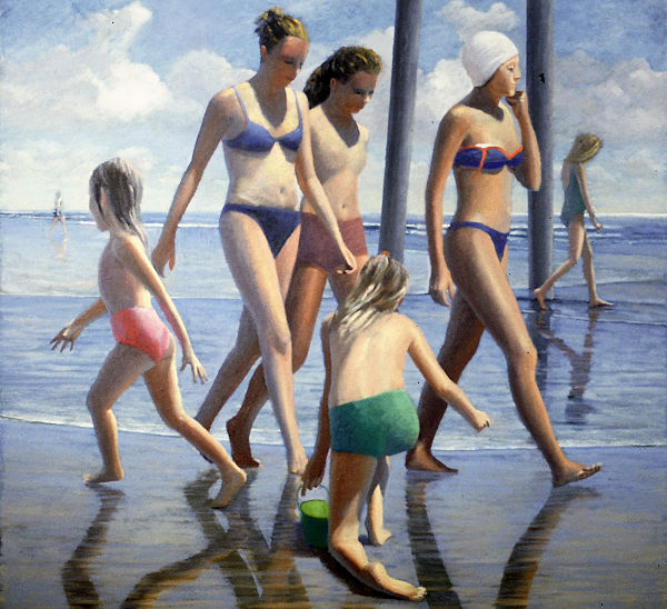 """David Ahlsted - """"Beach Strollers"""" Oil on Canvas, 48 x 48"""" - SOLD"""