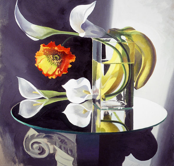 """David Ahlsted - """"Callas & Bananas"""" Oil on Canvas, 36 x 36"""" - SOLD"""