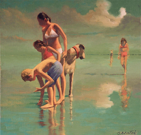 "David Ahlsted - ""Collecting Shells"" Oil on Canvas, 24 x 24"""