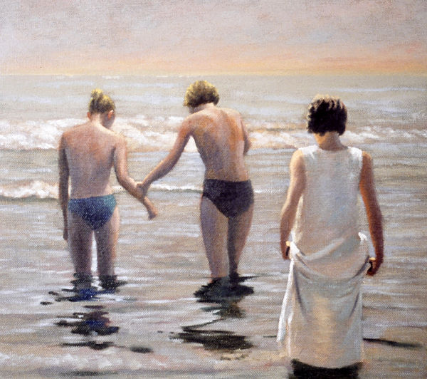 """David Ahlsted - """"First Time In"""" Oil on Canvas, 24 x 24"""" - SOLD"""