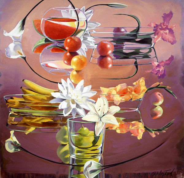 "David Ahlsted - ""Fruit & Flowers"", Oil on Canvas, 60 x 60"""