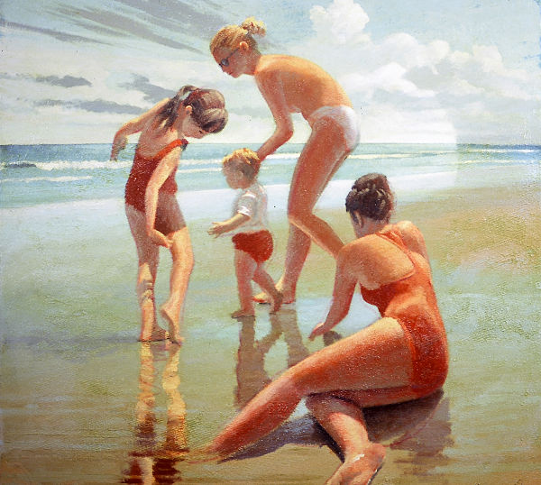 """David Ahlsted - """"Hottest Day of the Year"""" Oil on Canvas, 28 x 28"""". - SOLD"""