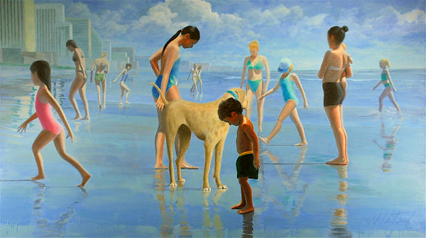 "David Ahlsted - ""Jersey Shore II"" Oil on Canvas, 48 x 84"""