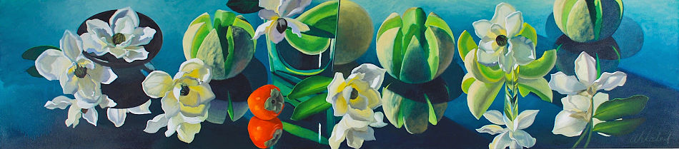 "David Ahlsted - ""Magnolias"", Oil on Canvas, 20 x 90"""