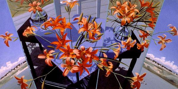 """David Ahlsted - """"Orange Melange"""", Oil on Canvas, 36 x 72"""" - SOLD"""