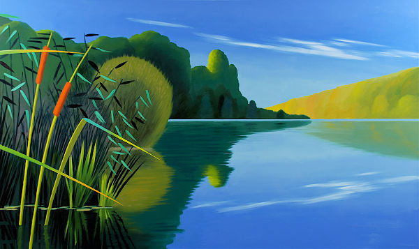 """David Ahlsted - Right Panel, """"Summer"""", Oil on Canvas, 6' 6"""" x10' 9"""""""
