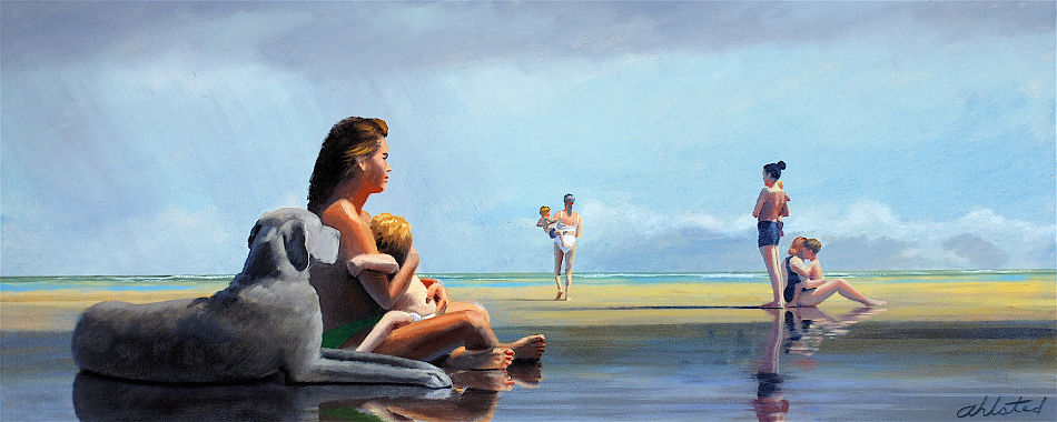 """David Ahlsted - """"Summer Showers, Jersey Shore"""" Oil on Canvas, 20 x 48"""" - SOLD"""