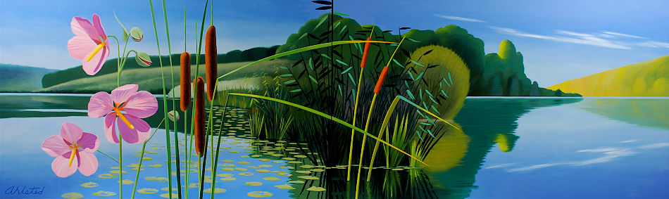 """David Ahlsted - """"Summer"""", Oil on Canvas, 6' 6"""" x 21' 6""""' Installation"""