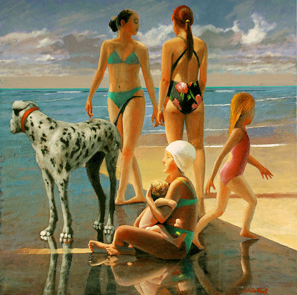 """David Ahlsted - """"Under the Boardwalk"""" Oil on Canvas, 40 x 40"""" - SOLD"""