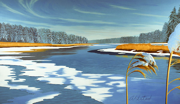 """David Ahlsted - Left Panel """"Winter"""" Oil on Canvas, 6' 6"""" x 11'"""