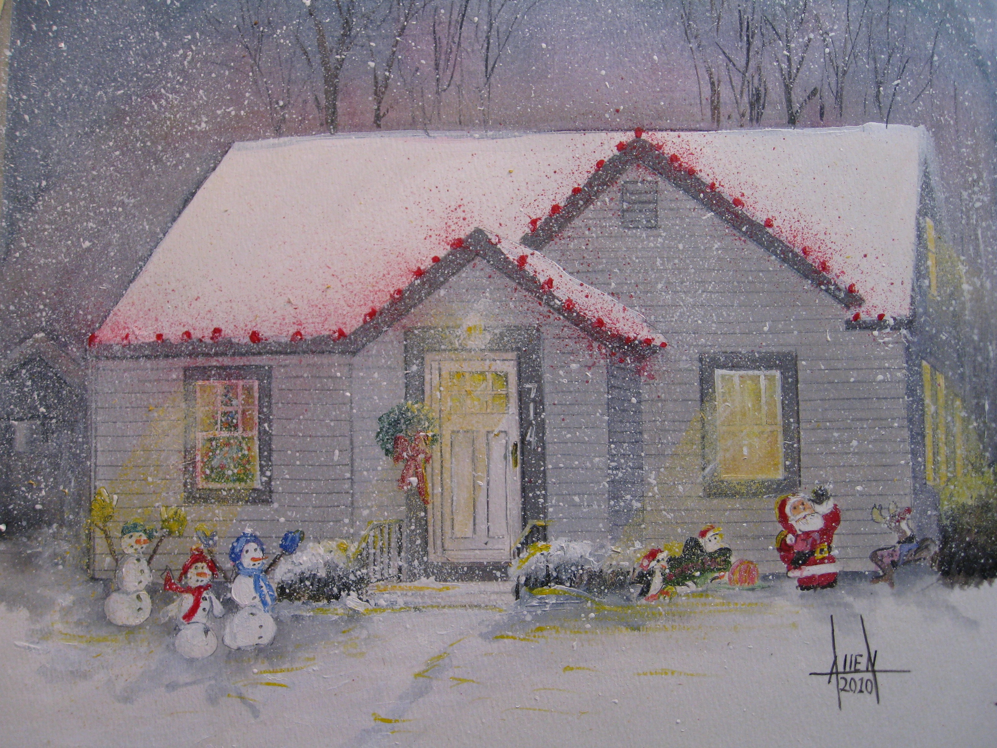 Toms House At Christmas Commissioned Acrylic Painting
