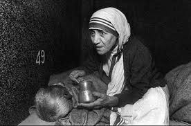 Mother Teresa at her home for those suffering from Hansen's Disease - Leprosy