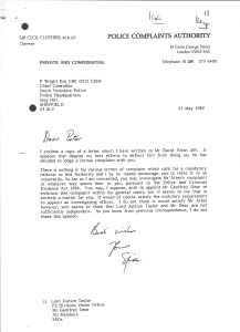 """Letter from the Chairman of the Police Complaints Authority to the Chief Constable of South Yorkshire saying he had done his best to """"deflect"""" the complaint. Sir Cecil signs the letter  """"Spike"""" - perhaps appropriately as it's a word used by journalists when an editors has decided to withhold a story from publication."""