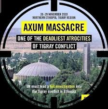 "Government Questioned Today about massacre at Axum in Tigray, and allegations of crimes against humanity. In written replies it says it is unable to ""verify reports that this includes the transfer of military equipment and money by the Government of Ethiopia to the Government of Eritrea""; ""condemns the destruction of the Hitsats and Shimbella refugee camps in Tigray"" and forced return of refugees would contravene the 1951 Refugee Convention; and says "" We are keeping the provision of aid to Ethiopia under constant review."""