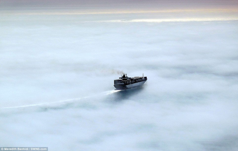 Ship  in sea fog off McCrae, Port Phillip Bay, Victoria,by  photographer Meredith Banhidi.