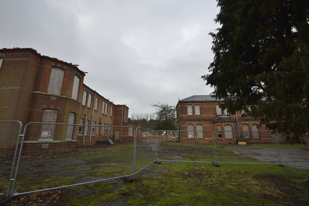 St. <strong class='StrictlyAutoTagBold'>Andrews Asylum</strong> - Demolition February 2013 - Front - Norwich