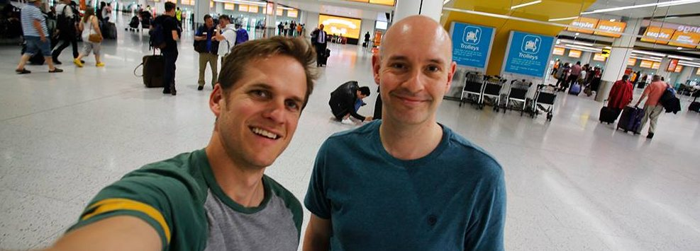 Matt Maran and I setting off to Italy to see his book being printed