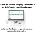 Visual of my Tax return record-keeping spreadsheet for sole traders