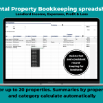 Visual of Property Income ledger spreadsheet