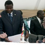 Being sworn in as Minister of Education, Sport, Arts and Culture by President Robert Mugabe