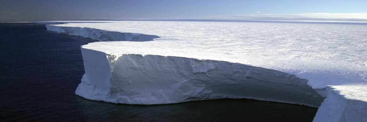 giant ice plateau surrounded by ocean